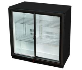 Flessenkoelkast laag met 2 glazen deuren zwart
