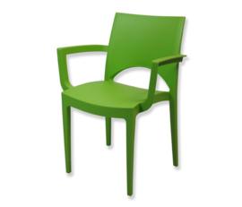 Stoel trendy groen met armleuning
