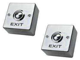2 stuks EXIT opbouw drukknop.   54mm x54mmx26mm.
