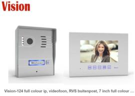 Vision-124 full colour ip, videofoon, RVS buitenpost, 7 inch full colour monitor. meest gemonteerde met gegarandeerd de laagste prijs.