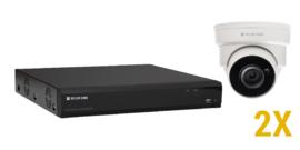 2 MP IP KIT met 2 vaste optische domecamera's