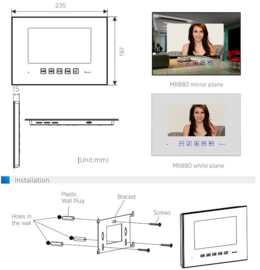 Vision-126 met codeclavier full colour ip PL961M,,   videofoon, RVS buitenpost, 7 inch full colour monitor.