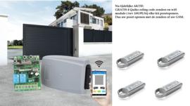 Aktie:  GRATIS 4 Quiko roling code zenders en wifi module ( twv 169,95) bij elke kit Quiko poortopeners.  Dus uw poort openen met de zenders of uw GSM.