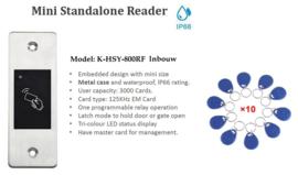 RFID Jetton reader.  met 10 Jettons.   Simpel de Jetton voor deze reader houden en uw poort of deur opent of sluit.  Inbouw. 9-24v DC