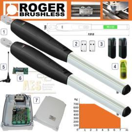 ROGER TECHNOLOGY - BRUSHLESS SMARTY 7 36V TWIN GATE KIT, 36v, tot 7 meter vleugellengte.