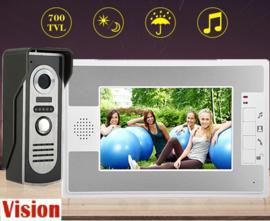 Vision-122 full colour, complete set, bedrade videofoon, extra smal,7 inch full colour monitor.  gegarandeerd de laagste prijs.