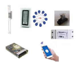 Deur / Looppoort- electroslot set met Wifi module, codeclavier, jettons en voeding.