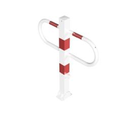Parkeerbeugel rood/wit, met driehoekslot.