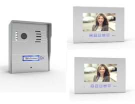 Vision-124 full colour ip , videofoon, RVS buitenpost, met 2x 7 inch full colour monitor.