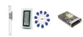 Deur / Looppoort -electroslot set met codeclavier, jettons en voeding.