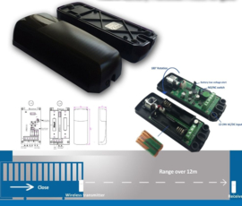 Set hi- k5111 universele , 180 graden richtbare sensoren op batterij of 12-24v. tot 12 meter bereik. toepasbaar op elk merk automatisering. perfect voor oa schuifpoorten, de oprit behoeft niet te worden open gemaakt.