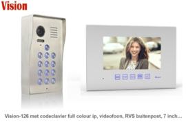 Vision-126 met codeclavier full colour ip,   videofoon, RVS buitenpost, 7 inch full colour monitor. gegarandeerd de laagste prijs.