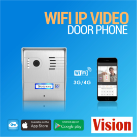 Vision-126 full colour ip ,  Met controlcam skybox videofoon, RVS buitenpost, 7 inch full colour monitor, en controlbox , zodat u naast de binnenpost ook via uw smartphone kan kijken en de poort openen.