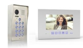 Vision-126 met codeclavier full colour ip PL961M,   videofoon, RVS buitenpost, 7 inch full colour monitor. gegarandeerd de laagste prijs.