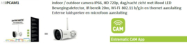 HSIPCAM1 indoor / outdoor camera IP66, HD 720p, dag/nacht zicht met iRood LED ,Bewegingsdetector, IR bereik 20m, Wi-Fi 802.11 b/g/n en thernet aansluiting Externe luidspreker en microfoon aansluiting