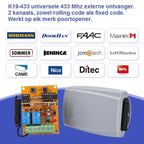 K19-433 universele 433 externe ontvanger 2 kanaals, zowel rolling code als fixed code.   multicode-ontvanger
