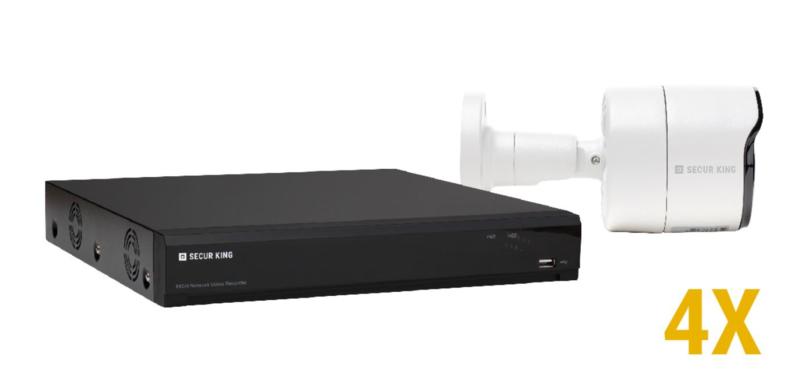 2 MP IP KIT met 4 bulletcamera's met vaste lens