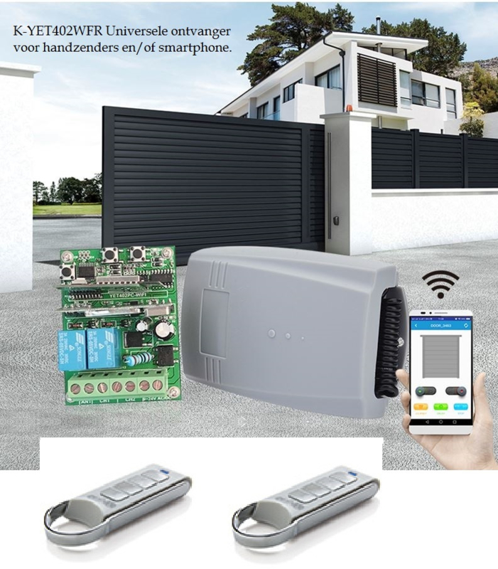 Set met 2 roling code zenders K-YET402WFR Universele ontvanger voor handzenders en/of smartphone.