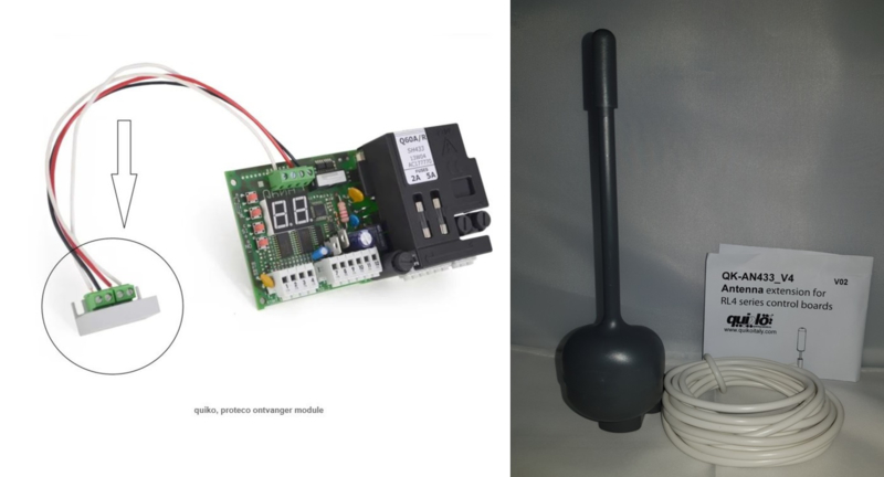 Proteco Ontvanger-module P-ONTM met antenne. Uw poort reageert plots niet meer op al uw zenders, dan is meestal deze print defect.