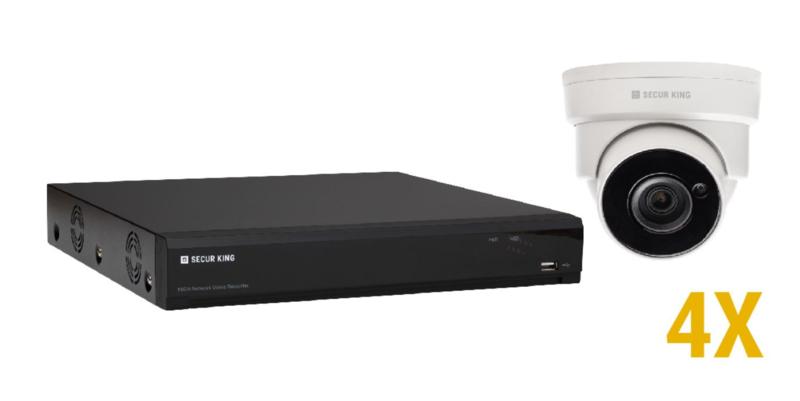 2 MP IP KIT met 4 vaste optische domecamera's