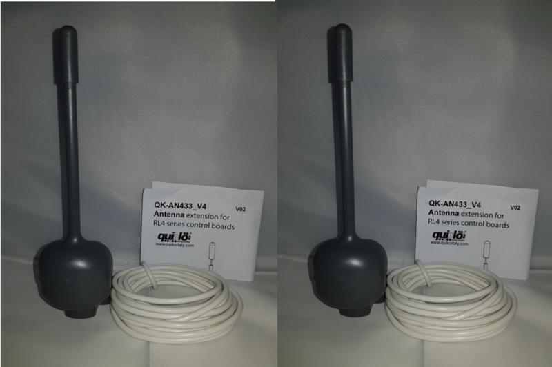 2 stuks. ANT433 versterkings-antenne, met aansluit kabel.  Deze is bedoelt om de interne ontvanger van Quiko of Proteco in te bouwen.