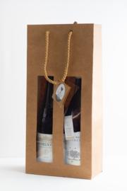 Krafpapieren draagtas met venster voor 2 flessen