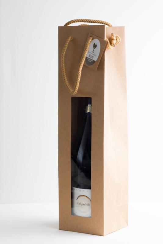 Krafpapieren draagtas met venster voor 1 fles