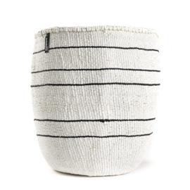 Mifuko mand wit met 5 zwarte strepen L