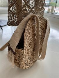 Ronde zeegras tas met katoenen band