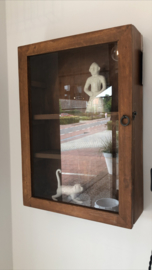 Wand hangkast vitrine hout