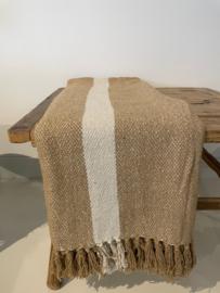 Gewoven zand kleur met streep 125x175cm
