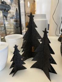 Jute kerstbomen set van 3, zwart of naturel