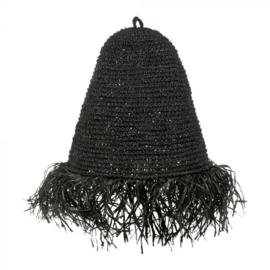 Raffia lamp zwart of naturel