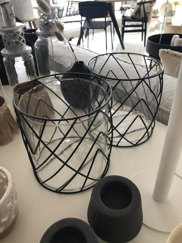 Windlicht glas metaal