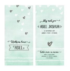 Watercolor kaartje met hartjes en label I B-005
