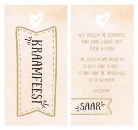 Watercolor kaartje met gouden label en hartje I G-005