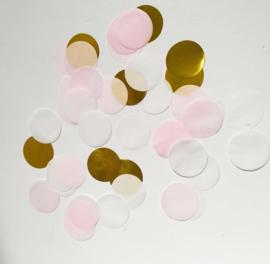 Confetti: Goud, wit en licht roze