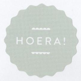 Sticker: HOERA, licht groen