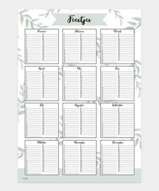 Feestjes kalender A3 (€6,95 verzendkosten) natuur/structuur papier