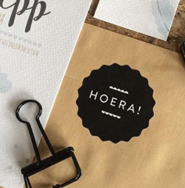 Sticker: HOERA, zwart/wit