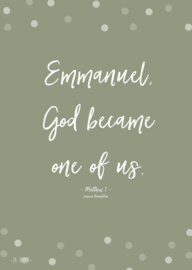 Poster A5, 'Emmanuel, God became one of us.'
