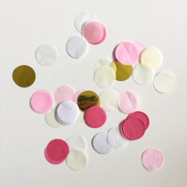 Confetti: Goud, geel, wit, licht roze en donker roze