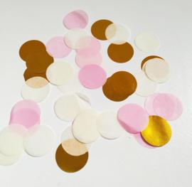 Confetti: wit, licht roze en goud