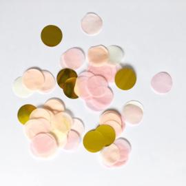 Confetti: goud, zalm, roze, wit en licht geel