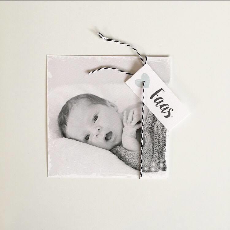 Geboortekaartje labelkaartje met foto I B-007