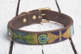 Halsband blauw/groen/goud L