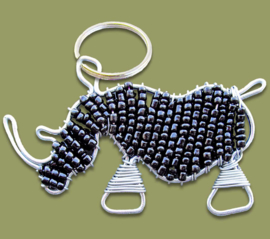 Beaded keyring rhino