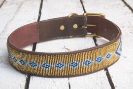 Halsband goud/blauw XL