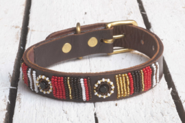 Halsband rood/goud S