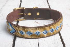 Halsband goud/blauw M